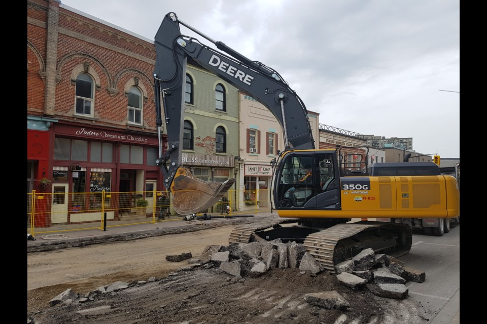 Phase 1A of the Dunlop Street dig is underway and is on target to halt in time for Remembrance Day, Tuesday Sept. 10, 2019. Shawn Gibson/BarrieToday