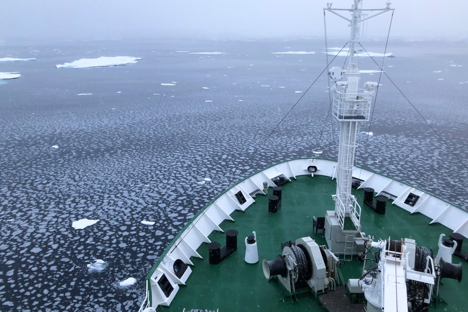 With calm water and falling temperatures, pancake ice begins to form on the surface of the ocean as seen from the deck of the Akademik Ioffe in the far north of the Canadian Arctic. Kevin Lamb for BarrieToday.