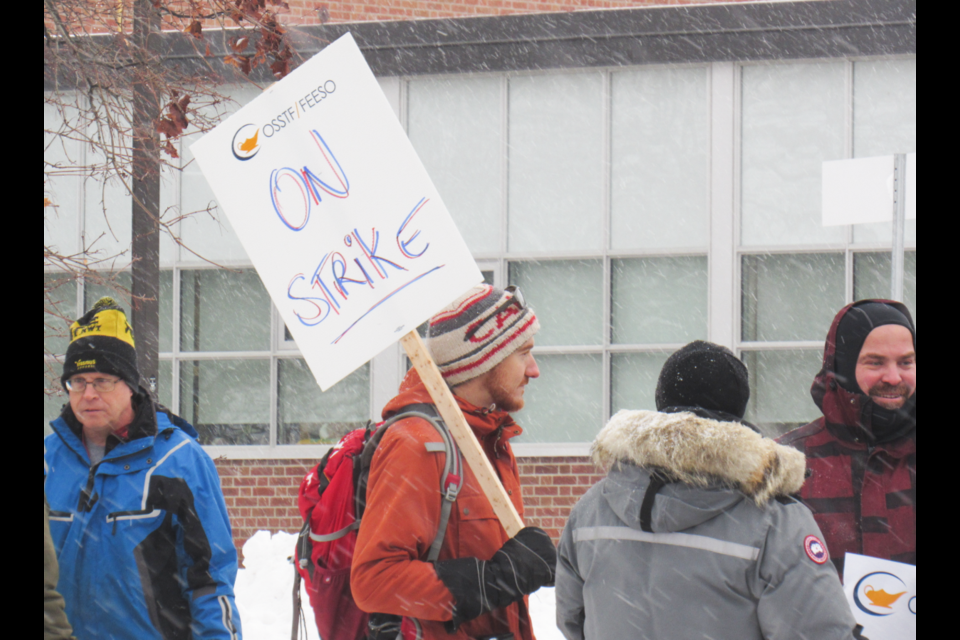 This sign made it very clear what was happening throughout Ontario high schools today, Wednesday, Dec. 4, 2019. Shawn Gibson/BarrieToday