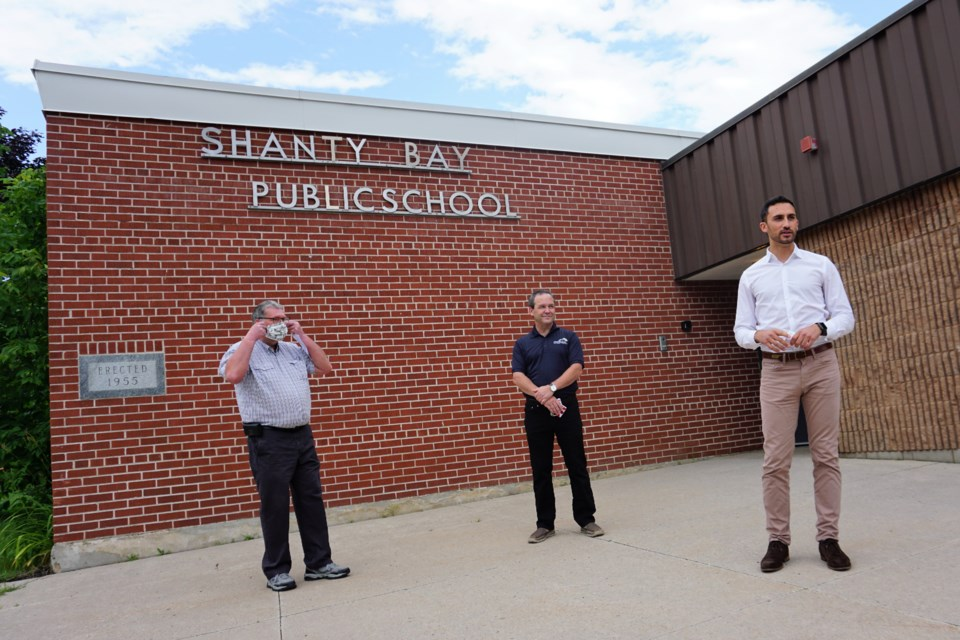 From left, Simcoe County District School Board trustee Peter Beacock, Barrie-Springwater-Oro-Medonte MPP Doug Downey and Minister of Education Stephen Lecce visit Shanty Bay Public School on Tuesday. Jessica Owen/BarrieToday