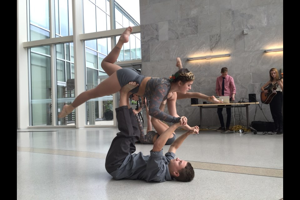 Students from Innisdale's Integrated Arts course did a music and dance performance to kick off their art exhibit at RVH. Sue Sgambati/BarrieToday