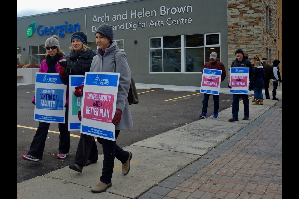 Striking faculty at Georgian College walk the picket line at the downtown campus on Oct. 16, 2017. Sue Sgambati/BarrieToday