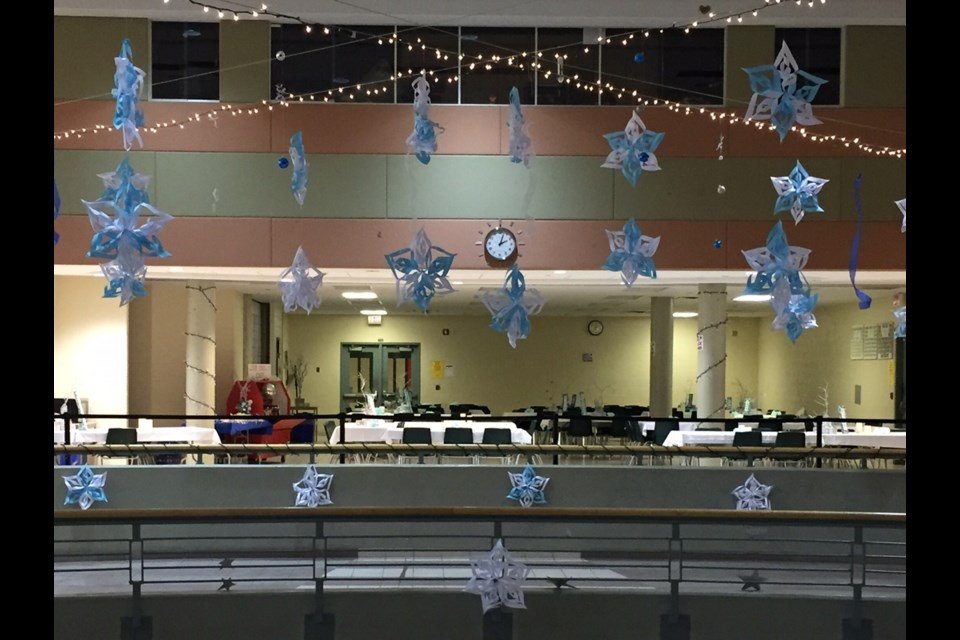 Christmas lights and snowflakes adorn the cafetorium for the Winter Ball.  Sue Sgambati/BarrieToday