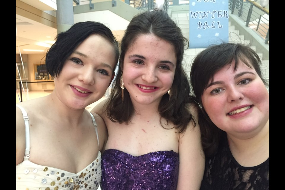 Bear Creek life skills students Cheyenne True, Deanna Hesch and Victoria Lamoraca were all dressed up for the Winter Ball.  Sue Sgambati/BarrieToday