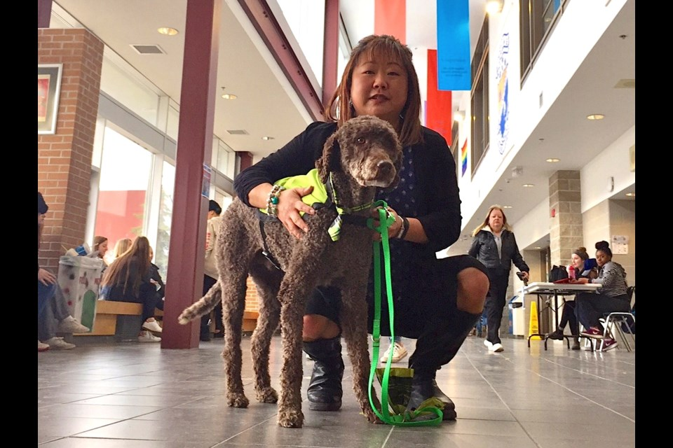 Therapy dog Tracker is pictured with owner Susan Rhee-Schofield, a guidance counselor at Innisdale.