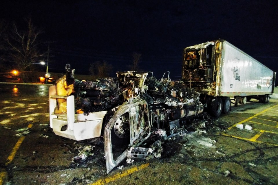 The remains of a tractor-trailer rig stand at the northbound ONroute in Barrie. Dave Kramer for BarrieToday