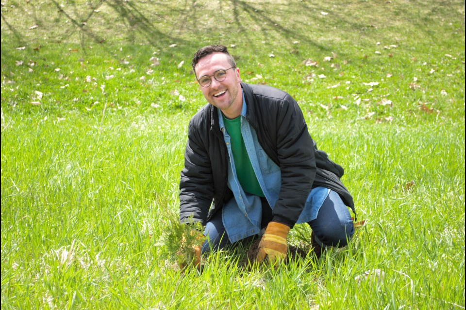 Ward 2 Coun. Keenan Aylwin, shown at a recent tree planting event, was named Person of the Year by Fierte Simcoe Pride. Jessica Owen/BarrieToday