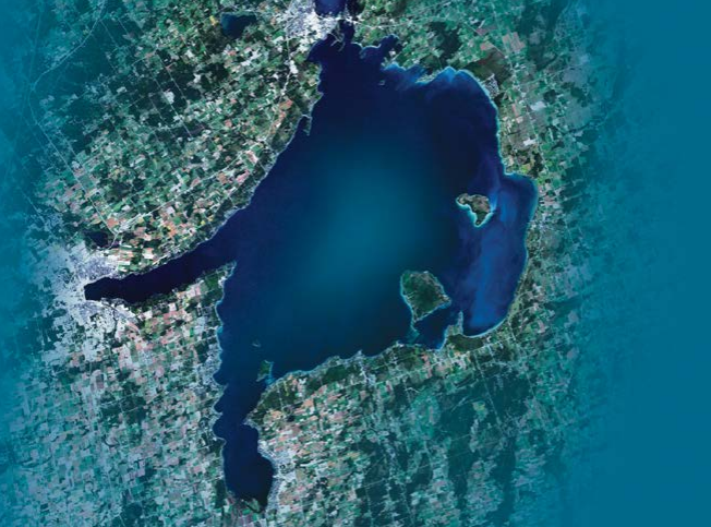 A satellite view of Lake Simcoe. Photo courtesy the Province of Ontario