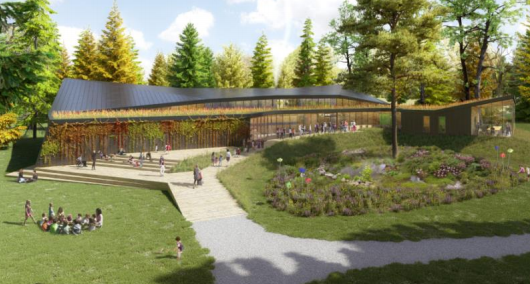 A rendering of what a new nature centre will look like at Scanlon Creek Conservation Area in Bradford. Image supplied