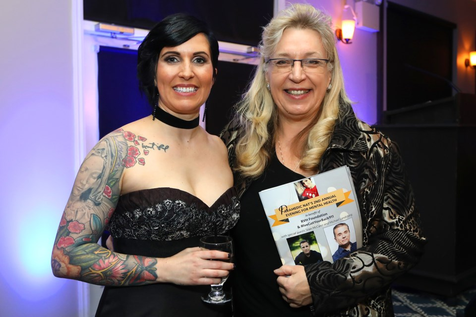 Host Natalie Harris with Liz Tkaczyszyn of the Peel Chapter of the Registered Nurses Association of Ontario during Paramedic Nat's 2nd Annual Evening for Mental Health at Tangle Creek Golf and Country Club on Saturday, Jan. 27, 2018. Kevin Lamb for BarrieToday.
