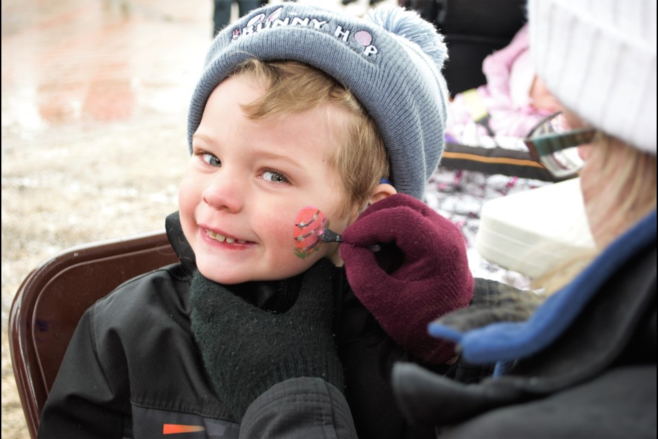 Liam O'Halloran, 5, gets his face painted in advance of the Bunny Hop marathon on Sunday at Heritage Park. Jessica Owen/BarrieToday