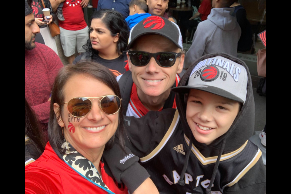 Cookstown resident Cathy Boudreau, her husband Justin and one of their sons, 14-year-old Evan, were in downtown Toronto o June 17, 2019 for the Raptors' championship parade. Cathy Boudreau/Photo
