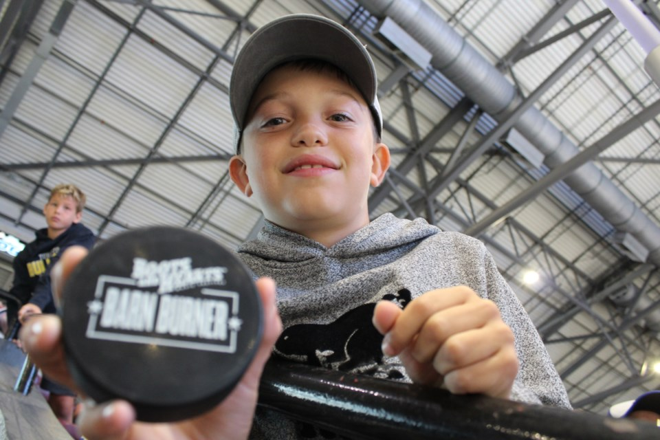 Nine-year-old Francis Lafreniere came down from Sudbury and was able to score some autographs at the Boots and Hearts Barn Burner charity hockey game held Wednesday, Aug. 7, 2019 at the Barrie Molson Centre. Raymond Bowe/BarrieToday