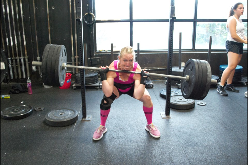 Tina Peterson from team #NoBS from Listowel competing in the back squat. Jessica Owen/BarrieToday