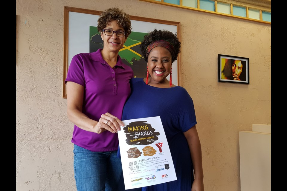 Michele Newton, left, and Shelly Skinner get ready to help kick off Black History Month tonight. Shawn Gibson/BarrieToday