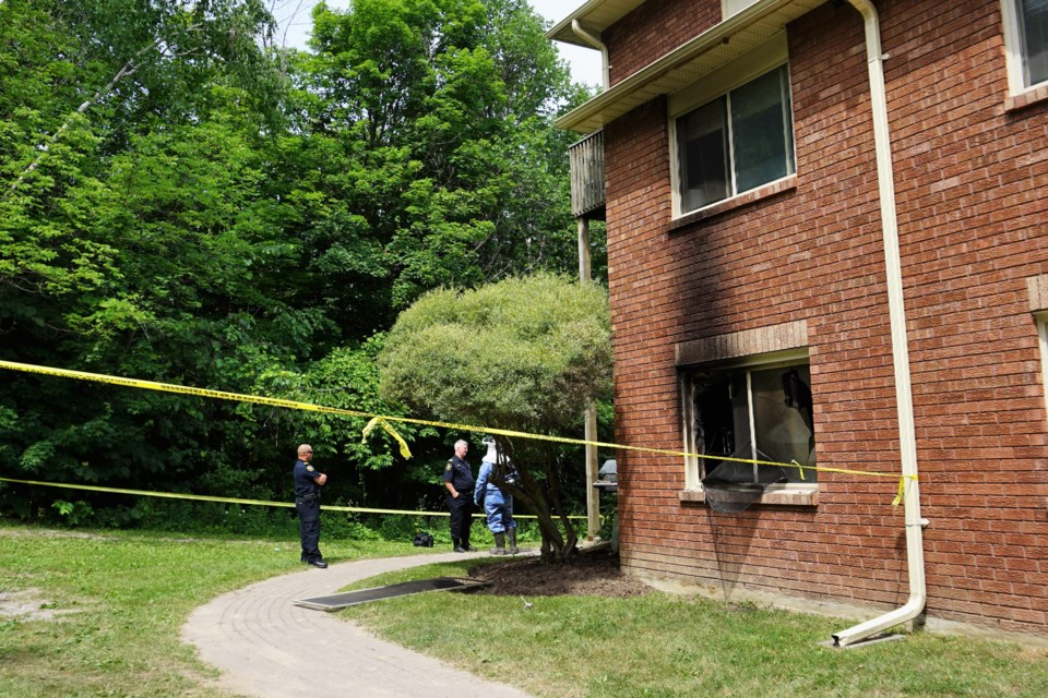 Staff from the office of Ontario Fire Marshal was at the scene of a condominium fire on Sunday afternoon on Shadowood Road in Barrie. A 50-year-old man was found dead at the scene. Jessica Owen/BarrieToday