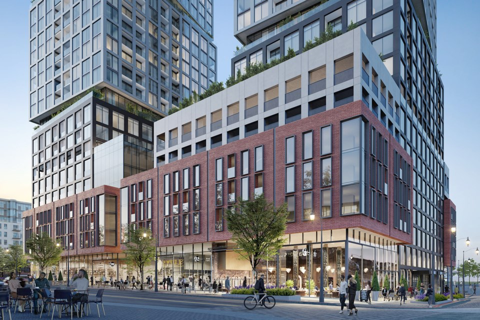 An artist's rendering shows how the south-east corner of Dunlop Street West and Mary Street will look when a proposed development is completed.
