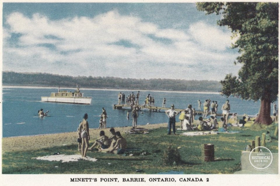 Minet's Point is referred to as Minett's Point in this undated postcard. The spelling hasn't been consistent over the decades. Courtesy of the Barrie Historical Archive