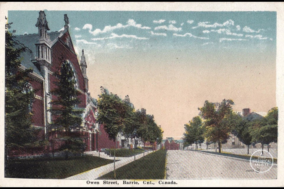 St. Andrew's Presbyterian Church, located on Owen Street in downtown Barrie, is shown in an undated postcard. Courtesy of the Barrie Historical Archive