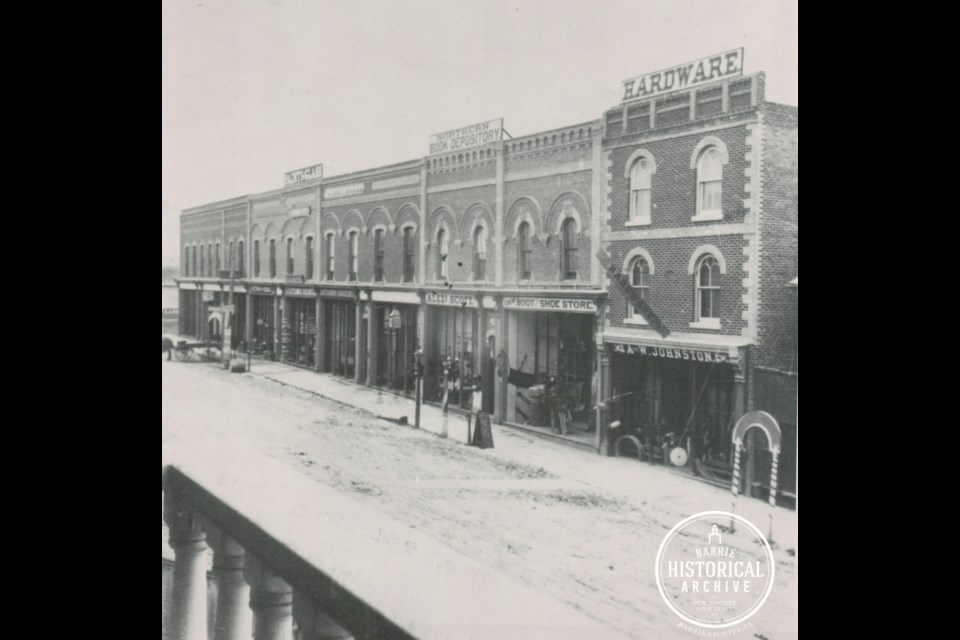 The Boys Block, located in downtown Barrie, as it appeared in  1877. Photo courtesy of the Barrie Historical Archive