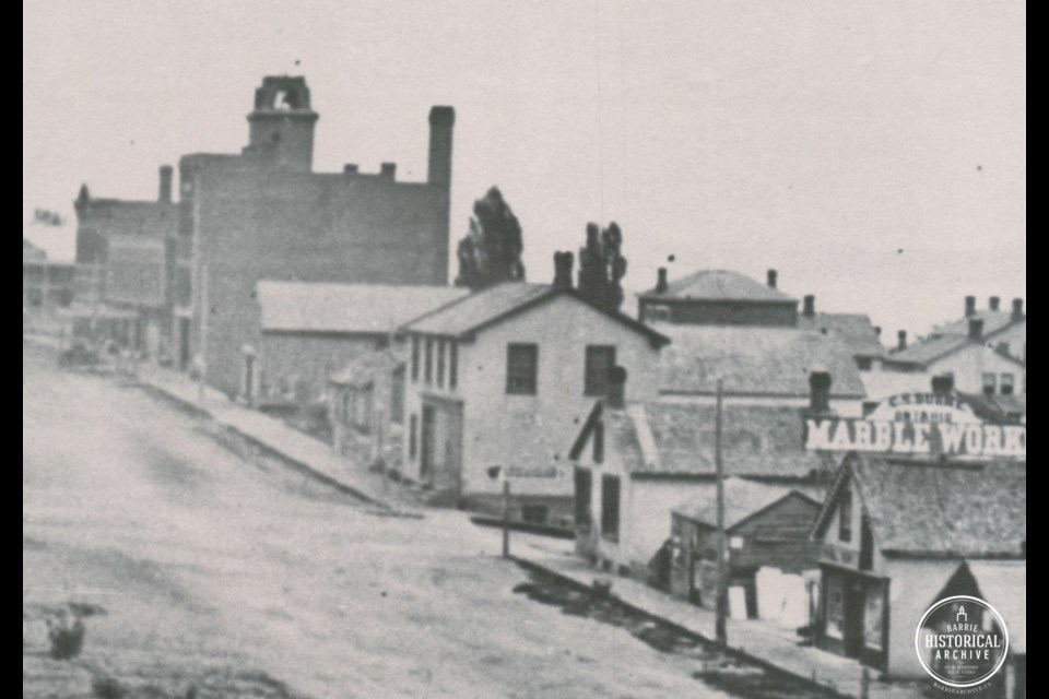 The Barrie Milling Company, located at 65 Collier St., is shown in a photo from 1868. Photo courtesy of the Barrie Historical Archive
