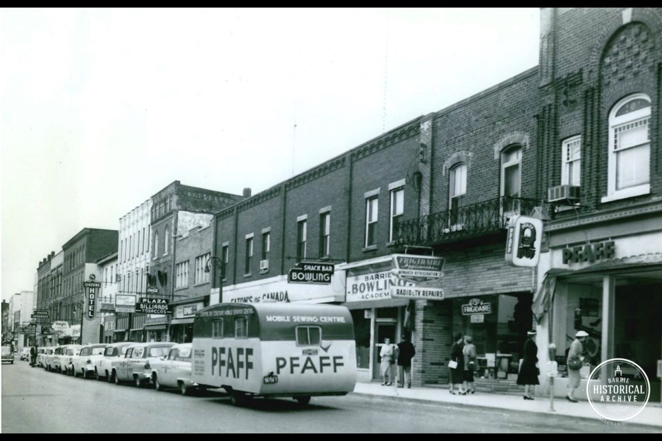 The downtown Barrie address at 120 Dunlop St. E. as it appeared in 1956. Photo courtesy of the Barrie Historical Archive