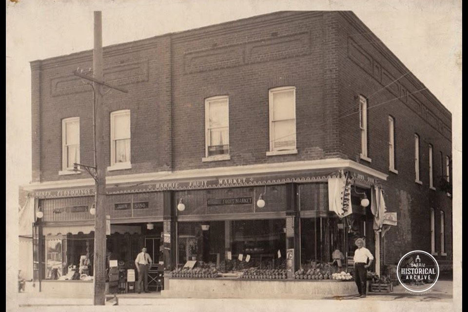 The former Barrie Fruit Market building at Dunlop and Toronto streets in downtown Barrie as it appeared around 1930. Photo courtesy of the Barrie Historical Archive