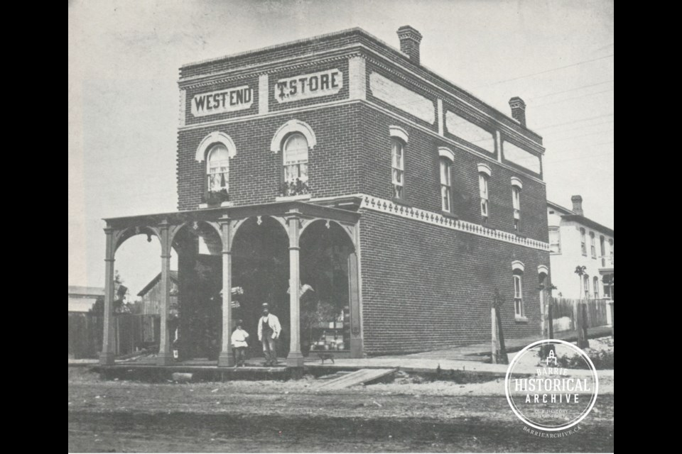 The property at 68 Dunlop St. W., as it appeared circa 1875.