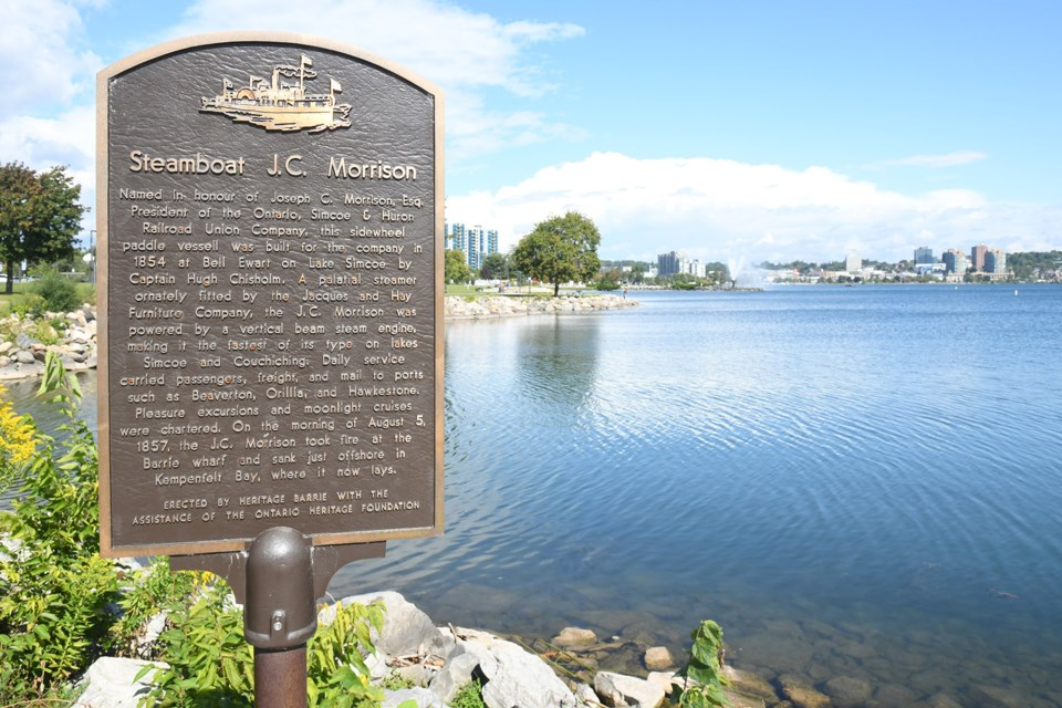 A plaque near the Tiffin Boat Launch parking lot recognizes the sinking of the J.C. Morrison in 1857 off the shores of what is now Centennial Beach in Barrie.