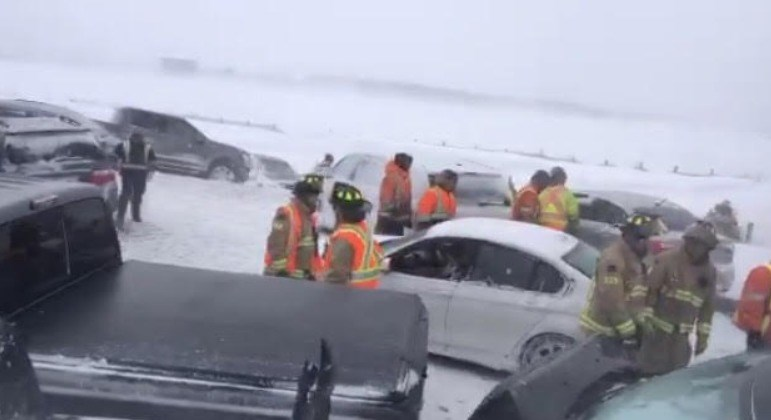 This screenshot from an OPP live video at the scene of a multi-vehicle crash on Highway 400 between Mapleview Drive and Innisfil Beach Road shows emergency crews cleaning up the carnage Monday afternoon.
