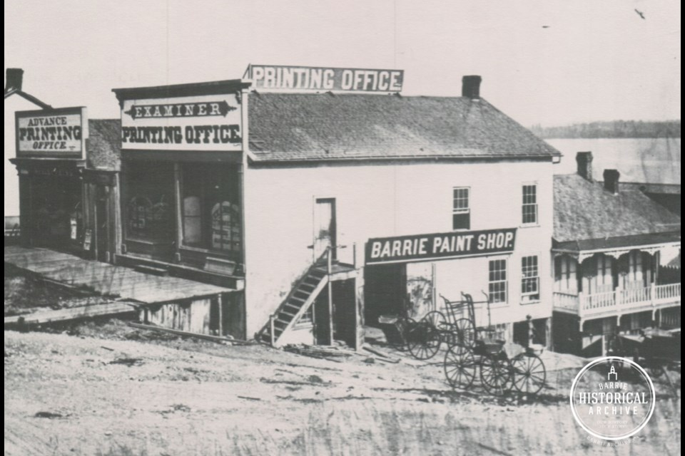The Examiner Printing Office on Mulcaster Street as it appeared in 1876. Photo courtesy of the Barrie Historical Archive