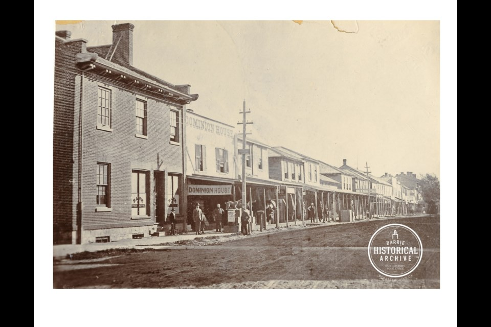 Dunlop Street East in 1868, an area of banks and businesses frequented by later James Speers. Photo courtesy of the Barrie Historical Archive