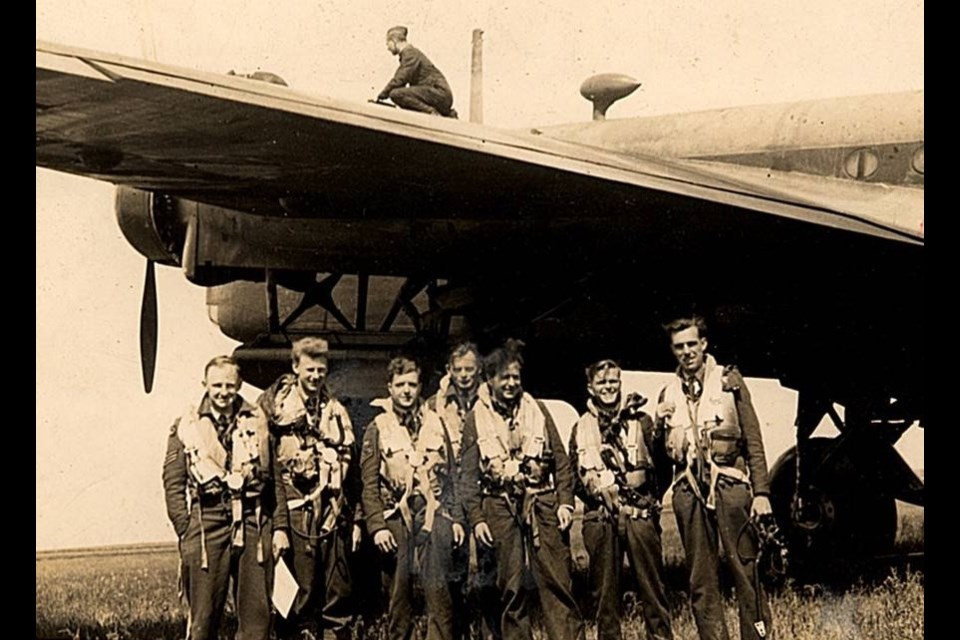 Flight Sergeant Hugh Coles MacMillan is pictured third from the right with other crew members. Photo courtesy Erik Wieman
