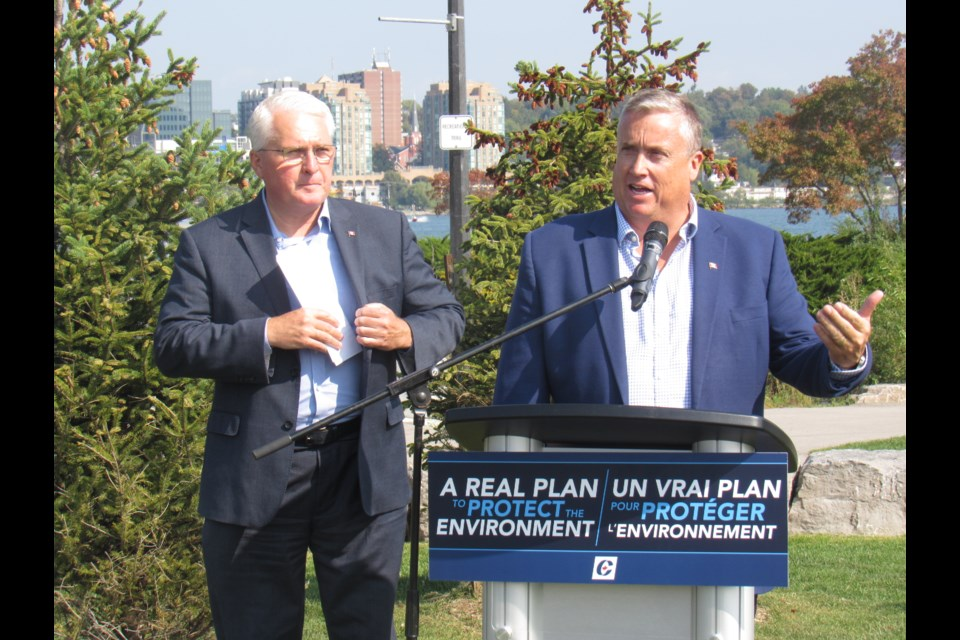 Conservative candidate for Barrie-Springwater-Oro-Medonte Doug Shipley (right) and Barrie-Innisfil candidate and incumbdent John Brassard announce the plan to reinstate the Lake Simcoe Clean-Up Fund, Saturday Sept. 21, 2019. Shawn Gibson/BarrieToday