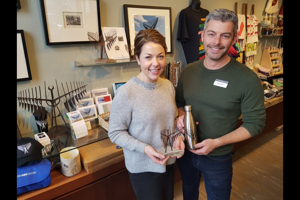Laura Aylan-Parker (left) and Tyler Durbano show off some of the popular ritems in the Gallery Shop at the MacLaren Art Centre, Wednesday Dec. 4, 2019. Shawn Gibson/BarrieToday