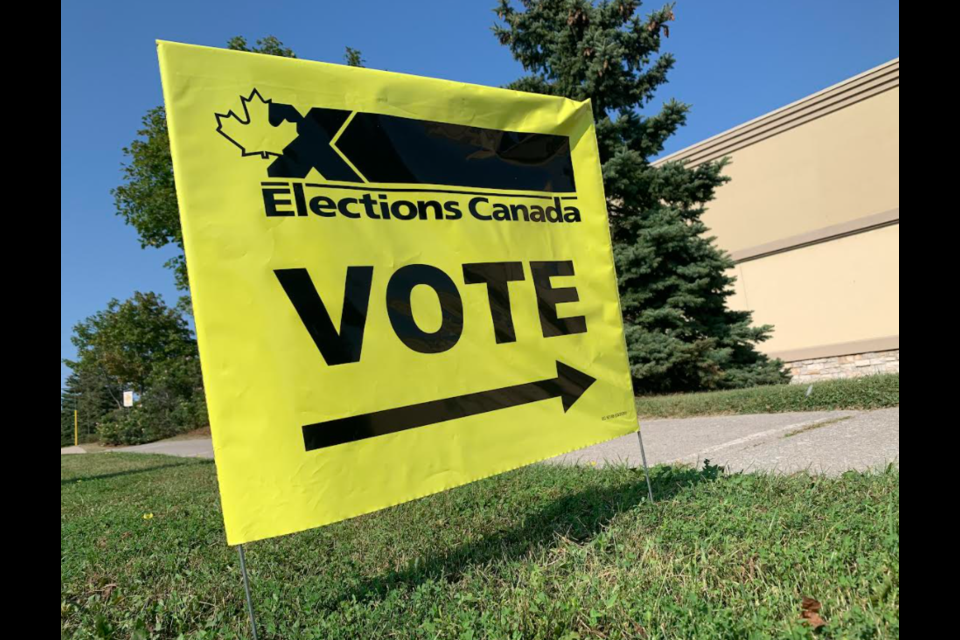 Sign outside the Elections Canada office on Bryne Drive in south-end Barrie.
