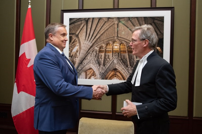 Doug Shipley (left) gets sworn in by the clerk as the official MP for Barrie-Springwater-Oro-Medonte on Friday Nov. 22, 2019. Photo supplied