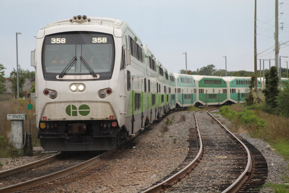 An evening train arrives at the Allandale Waterfront GO station in Barrie in this file photo. Raymond Bowe/BarrieToday