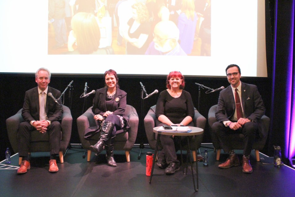 City council candidates for Ward 2 took part in a debate Tuesday night at the Five Points Theatre in downtown Barrie. The candidates include, from left, Richard Forward, Yolanda Gallo, Rose Romita and Keenan Aylwin. Raymond Bowe/BarrieToday