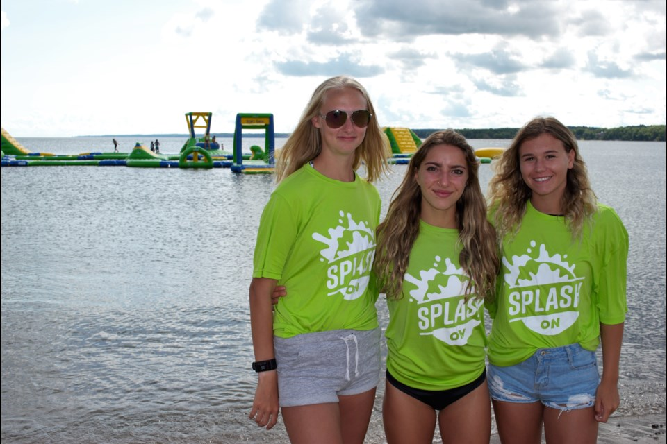 Among the lifeguards who helped rescue a drowning boy are, from left: Jessica Jury, Abby Morin and Mackenzie Cooke at the Splash On Waterpark at Centennial Beach on Friday. Jessica Owen/BarrieToday