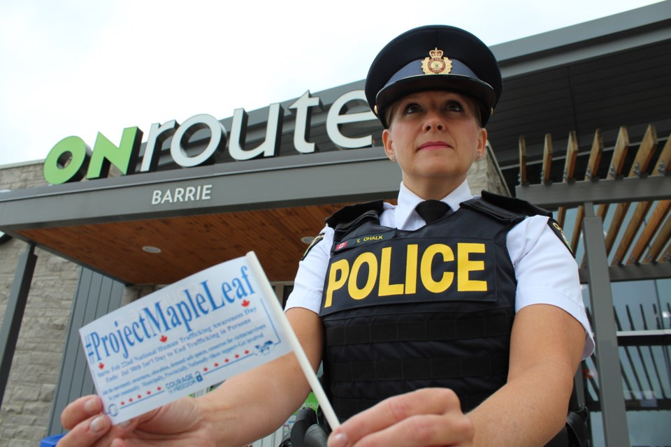 Insp. Tina Chalk, of the OPP's counter-exploitation and missing persons section, was on hand Tuesday, July 30, 2019 for an announcement regarding tips to spot human trafficking that will be displayed on electronic messaging boards at ONroute locations, including one in Barrie on Highway 400 near Essa Road. Raymond Bowe/BarrieToday