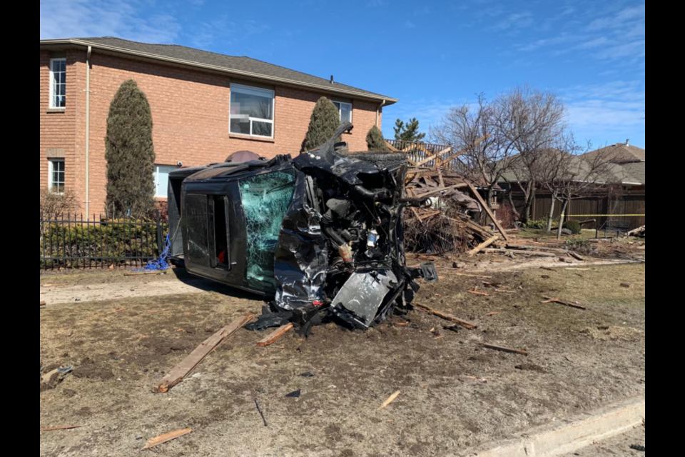 Barrie police responded to a crash shortly before noon on Saturday at Hurst Drive and Golden Meadow Road in the city's south end.