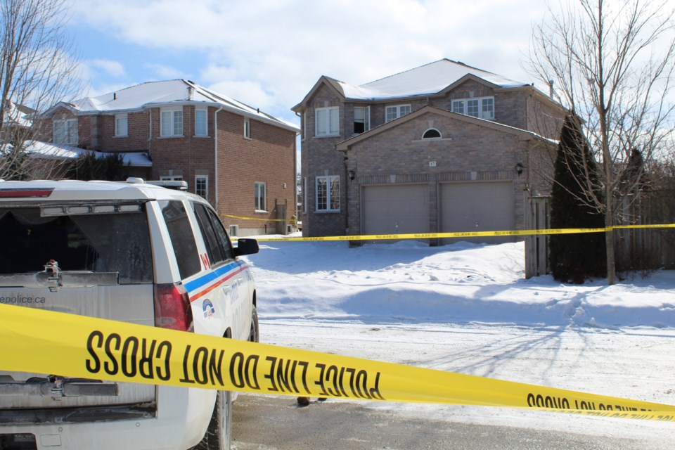 Police investigate a teen's death on Penvill Trail in south-end Barrie in this file photo. Raymond Bowe/BarrieToday