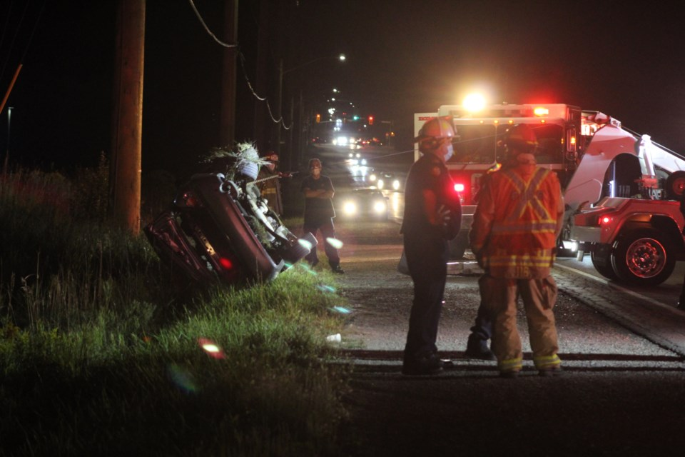 Emergency crews responded to a vehicle rollover on Essa Road, Wednesday night. Raymond Bowe/BarrieToday