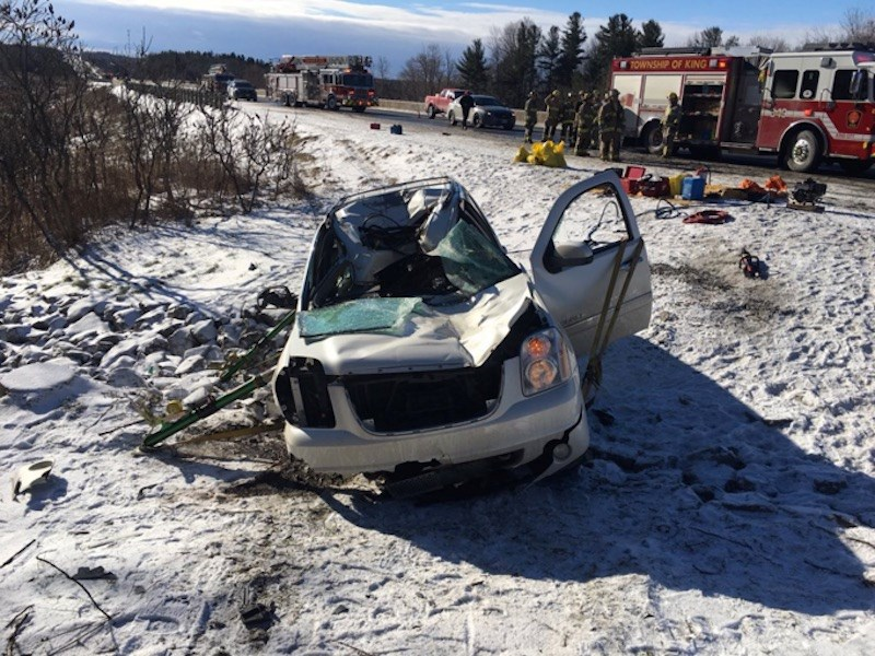 Air ambulance took the driver of an SUV to hospital after police say a transport tire struck the vehicle. OPP photo via Twitter
