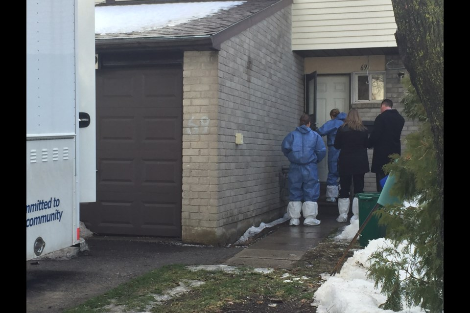 Barrie Homicide detectives prepare for the final walk-through with forensic investigators of the Eden Drive double murder scene. Sue Sgambati/BarrieToday