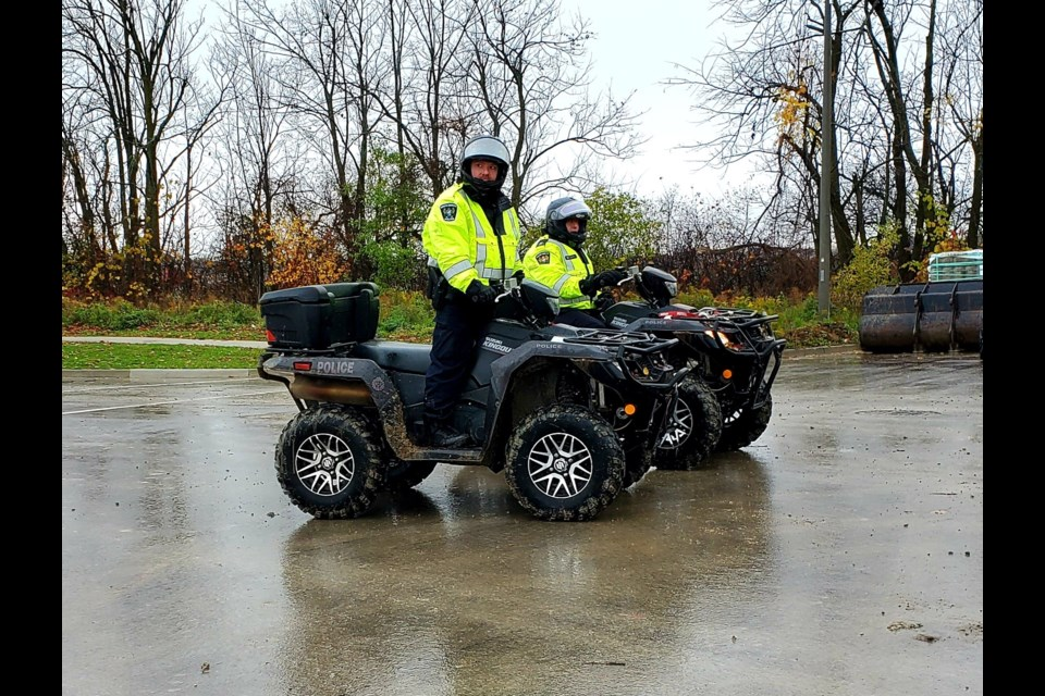 South Simcoe police search the area of Siem Zerezghi's last known whereabouts on Tuesday, Oct. 27 in Bradford. Photo supplied
