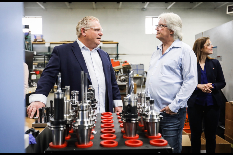 Premier Doug Ford speaks at Brotech Precision CNC in Barrie on May 17, 2019, in this photo from the premier's Twitter account.