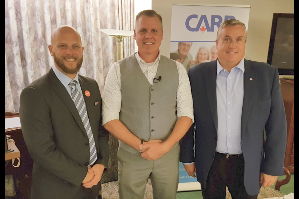 From left, Dan Janssen (NDP), Marty Lancaster (Green) and Doug Shipley (Conservative) had a friendly debate at the CARP-hosted event on Wednesday, Oct. 9, 2019. Shawn Gibson/BarrieToday