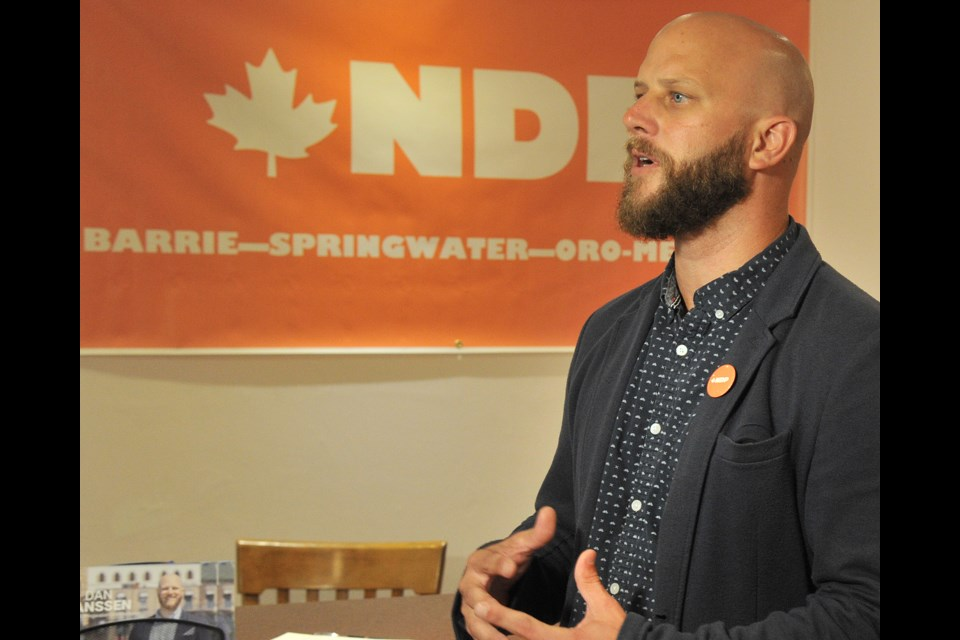 Barrie-Springwater-Oro-Medonte NDP candidate Dan Janssen addresses supporters during his campaign launch in downtown Barrie Sunday afternoon. Ian McInroy for BarrieToday